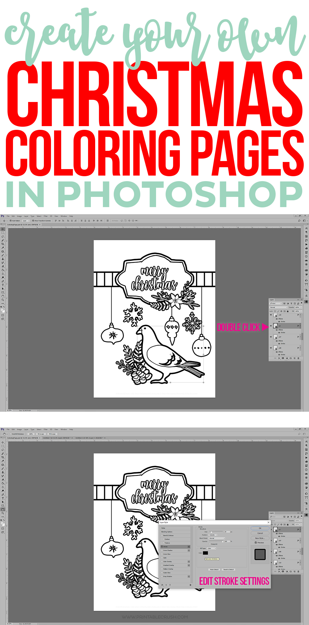 Christmas coloring pages tutorial collage