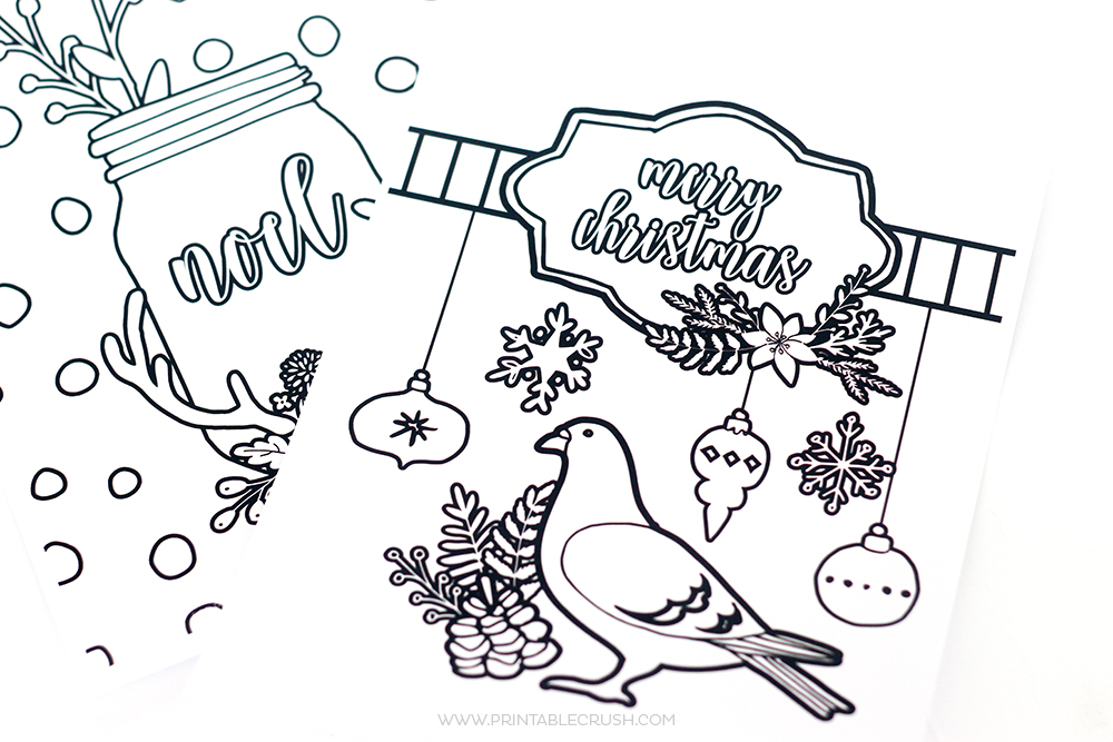 Plain Christmas Coloring Pages designs for cards