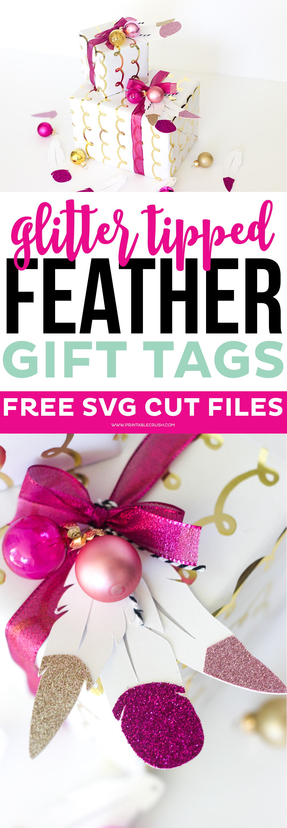 This holiday season, wow everyone with these FREE Feather Gift Tag Cut File and Unique Gift Wrapping Idea! These glitter tipped feathers are GORGEOUS!