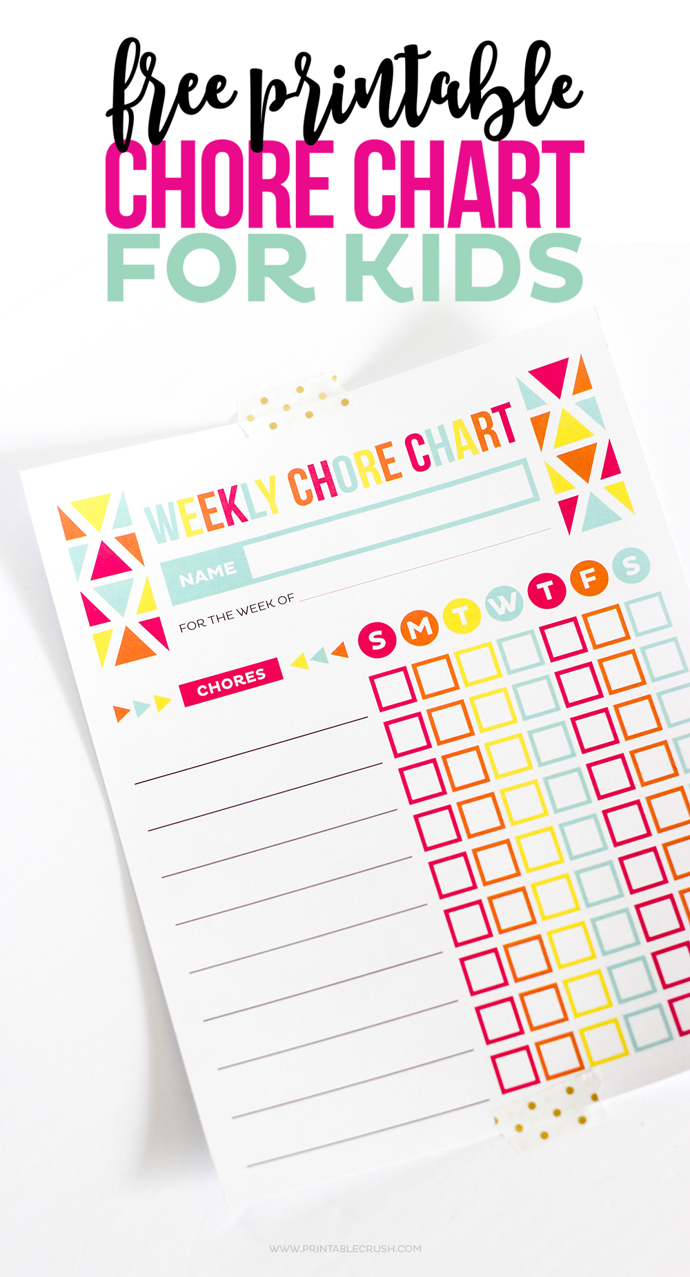 Chore chart tapes to white background with gold dot washi tape