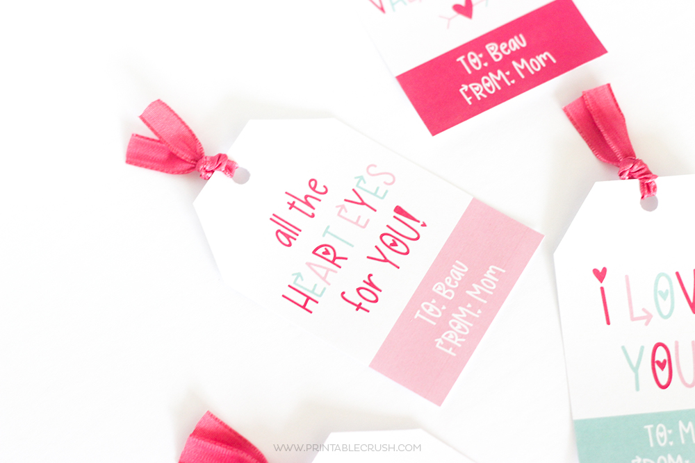 Pink and teal Valentine gift tags