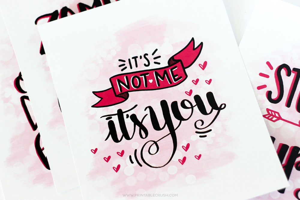 Closeup of anti-valentine cards
