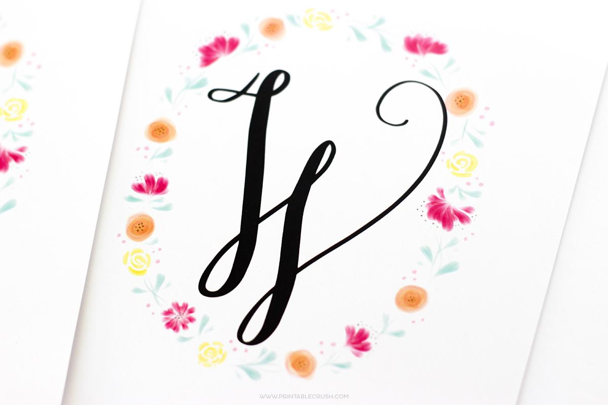 Free Printable Watercolor Monogram Wreaths