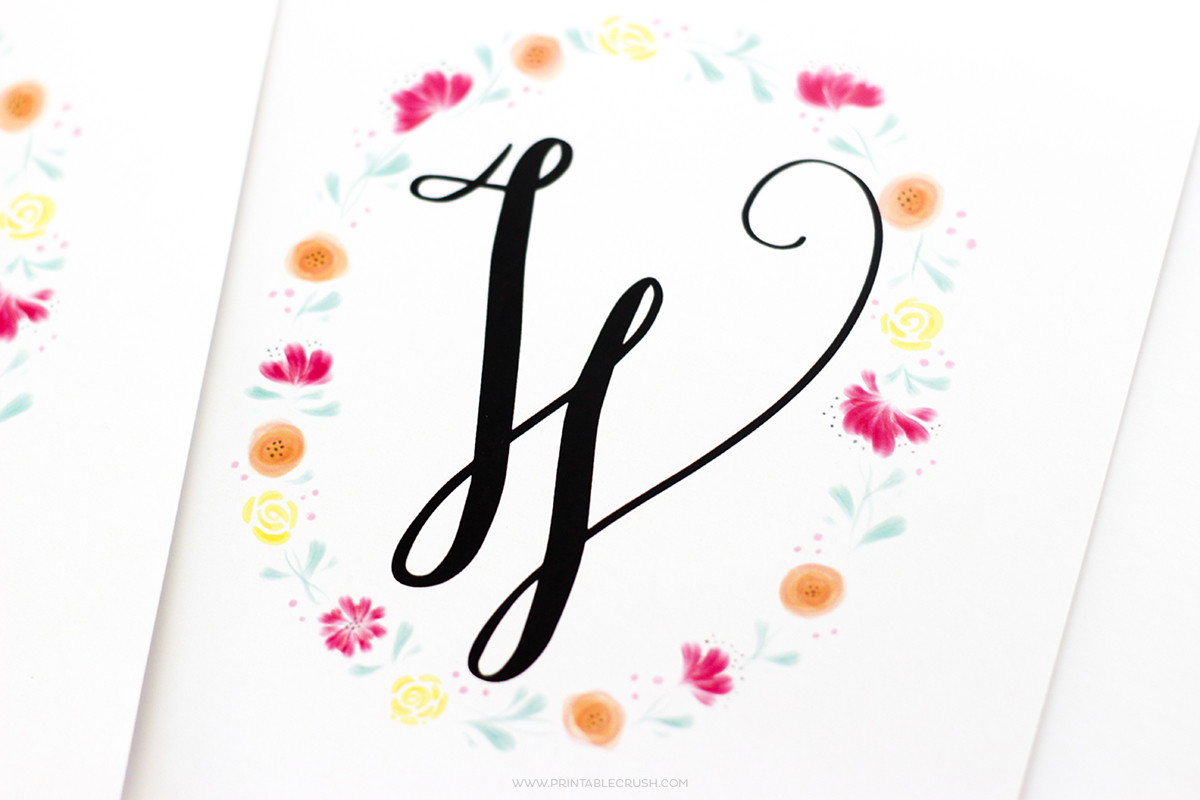 photograph about Free Printable Monogram named Absolutely free Printable Watercolor Monogram Wreaths - Printable Crush