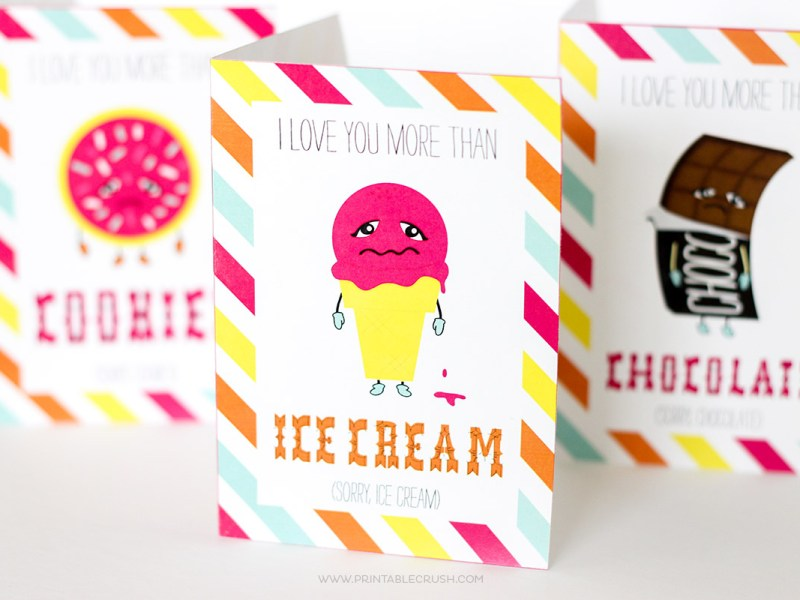 Show someone how much you REALLY care with this FREE Printable Funny Valentine Cards. Includes four designs with illustrations of your favorite foods: chocolate, pizza, ice cream, and cookies!