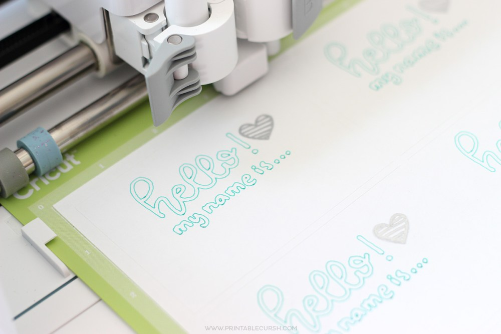 Close up of Cricut using print feature