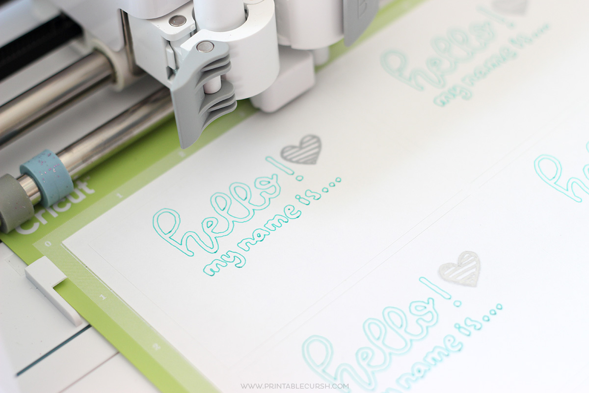 Close up of Cricut machine using print feature for Cricut accessories and supplies