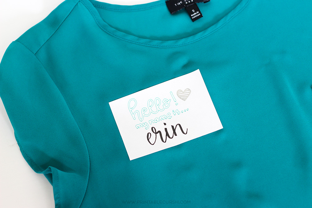 Teal shirt with name tag for cricut projects using pens