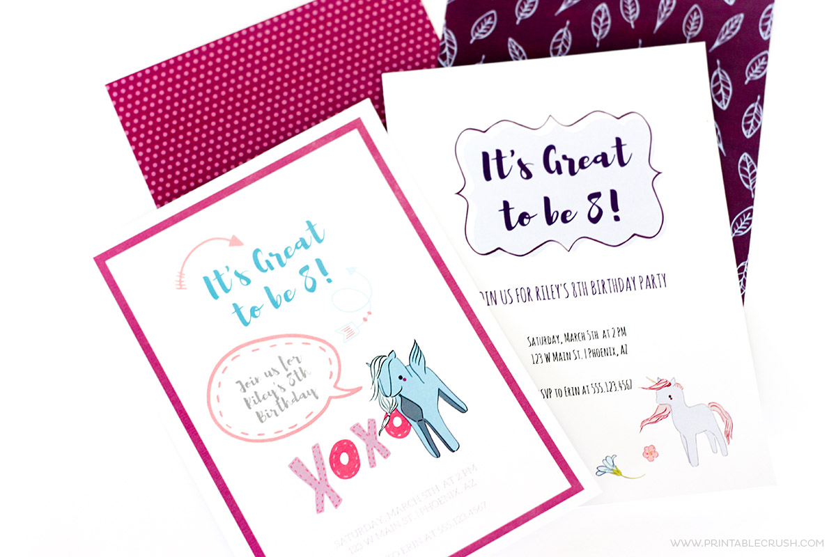 Two finished invitations with pony from create invitations post