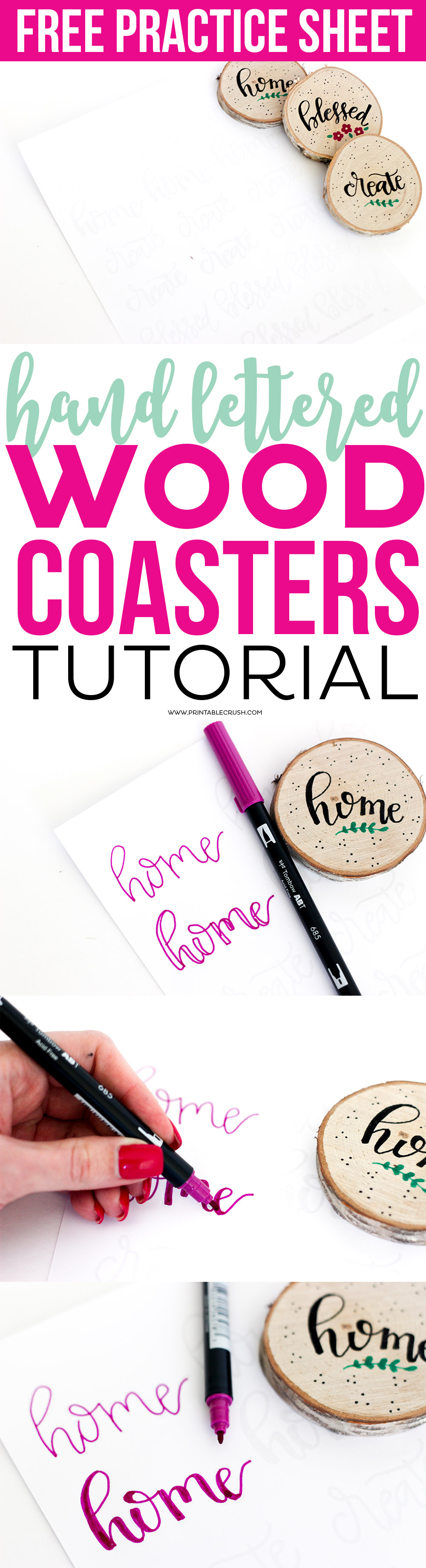Creating these Hand Lettered Wood Coasters is SO easy with this tutorial. Includes free hand lettering practice sheet so you can practice or copy these cute words!