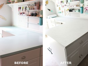 Laminate sheets are a great and inexpensive alternative to custom cabinets. Learn how you can create your own DIY Laminate Countertops with this tutorial!