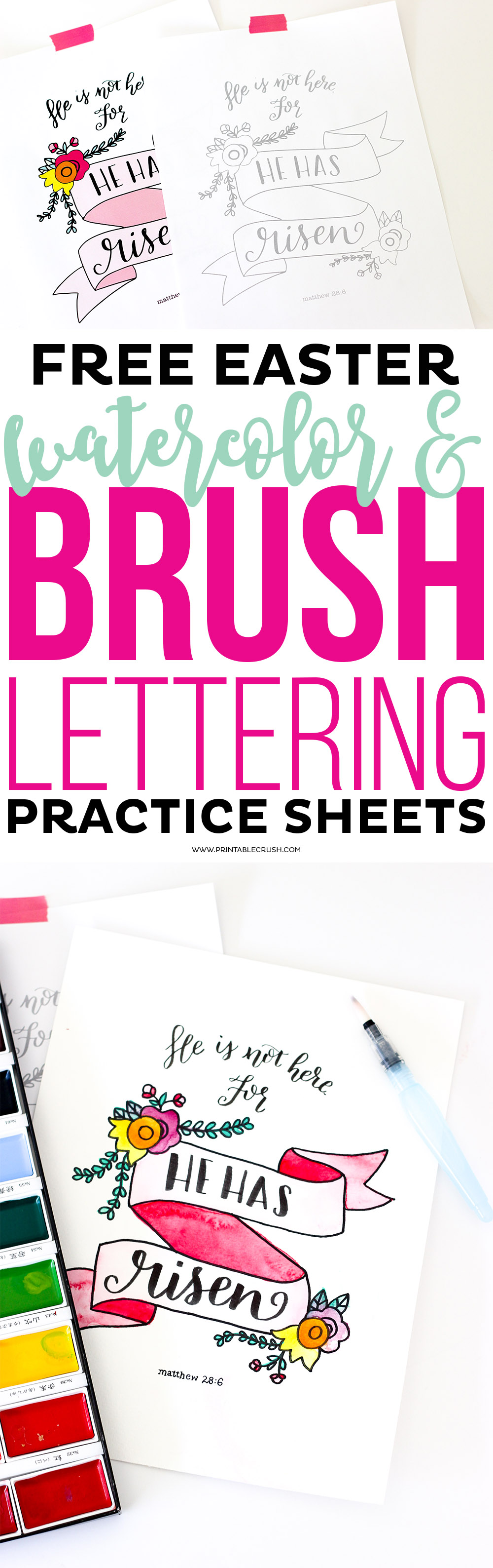 FREE Easter Watercolor and Brush Lettering Practice Sheets ...