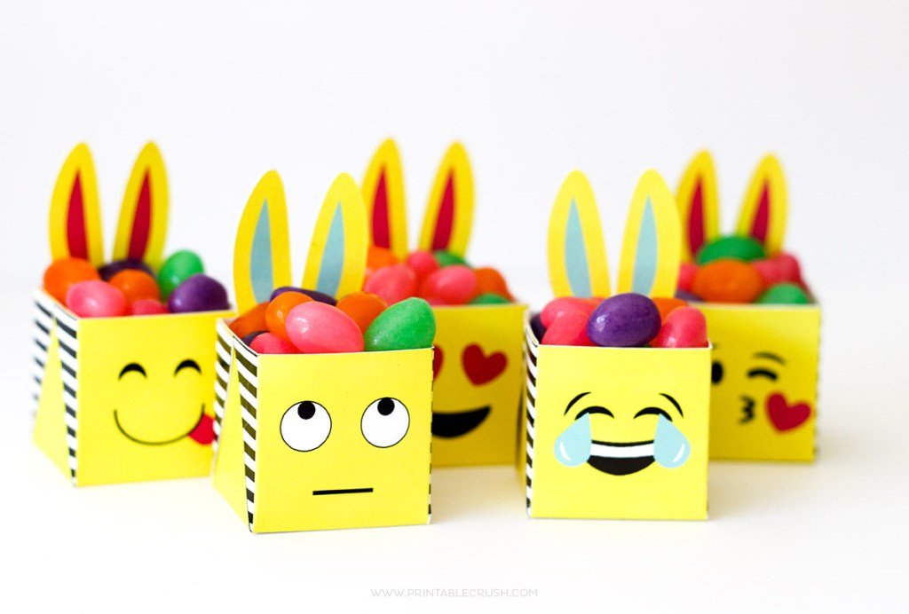 These FREE Printable Emoji Easter Bunny Boxes are the CUTEST!