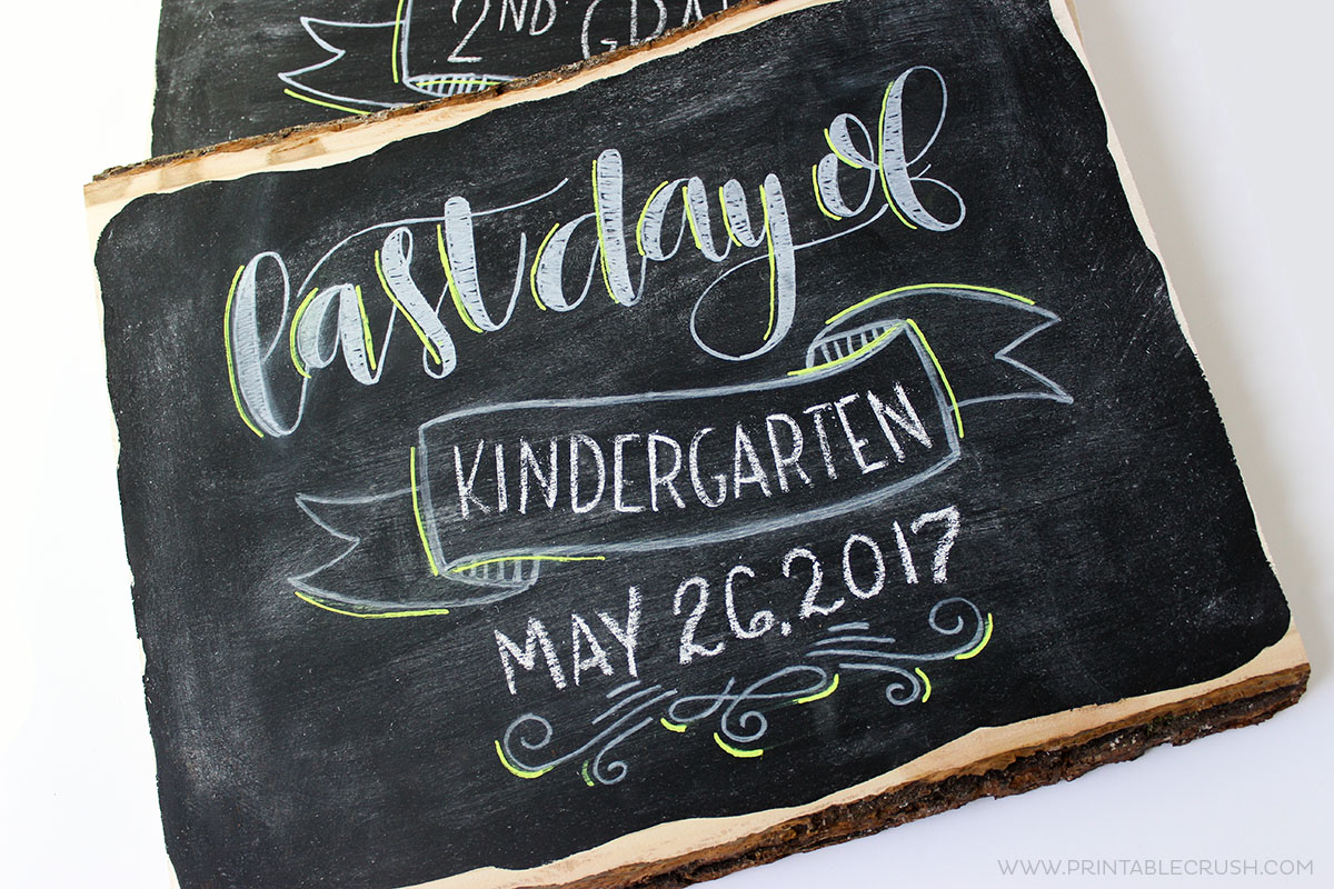 Closeup of last and First Day of School Signs