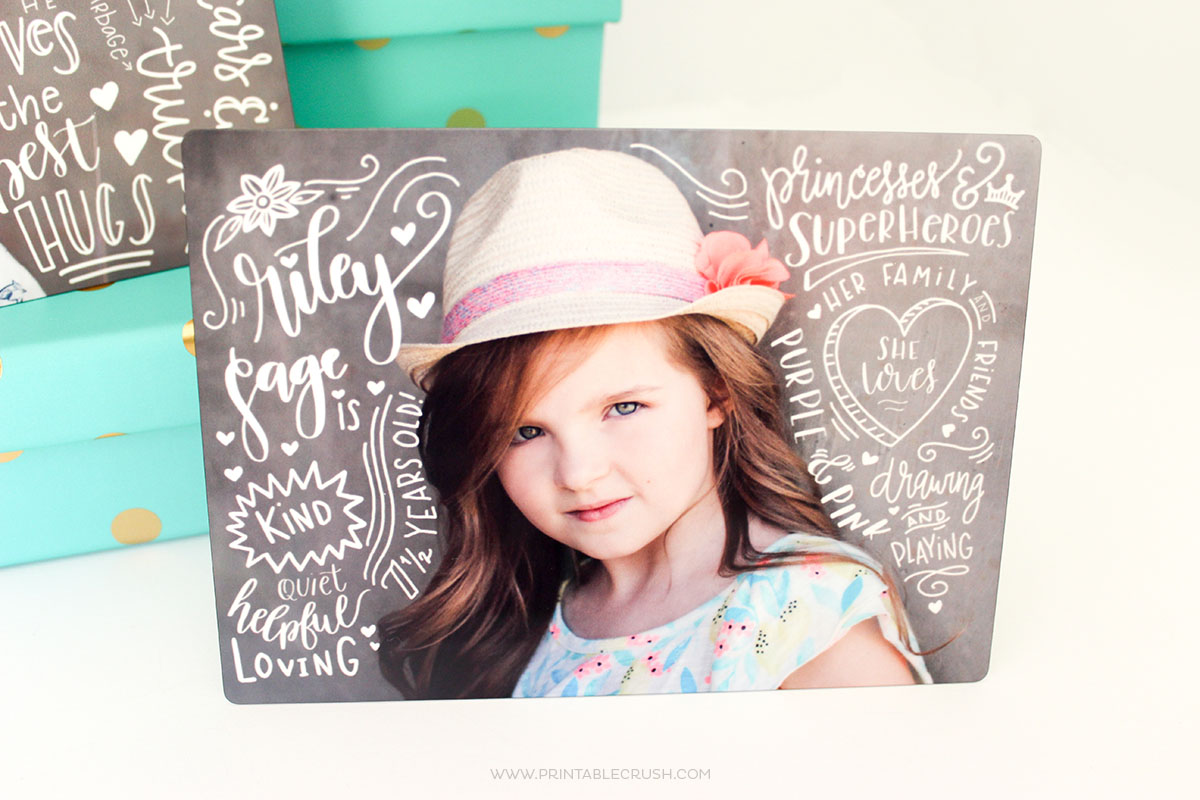 Create a completely custom and gorgeous Mother's Day Gift with these Hand Lettered Photos printed on metal. They're unbelievably beautiful!