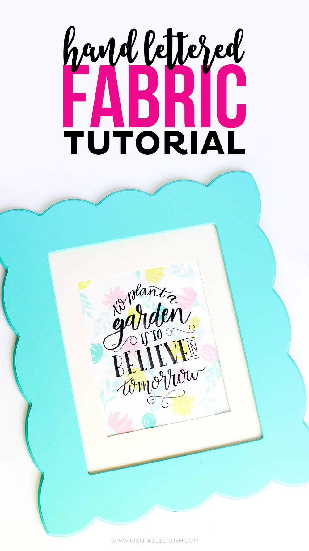 Download this FREE Printable Hand Lettering Practice Sheet and follow this Hand Lettered Fabric Tutorial to create a beautiful piece of artwork!