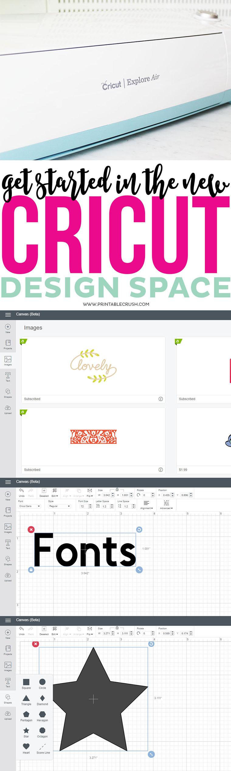 Cricut Design Space long pin collage
