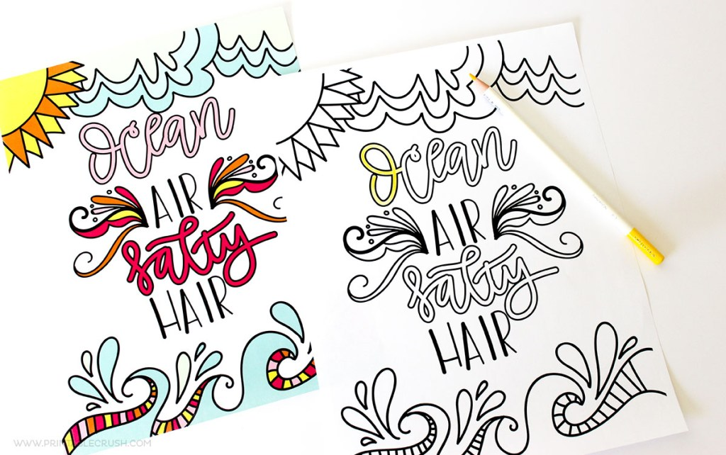 Download this Hand Lettered FREE Printable Summer Coloring Page to enjoy over and over again!