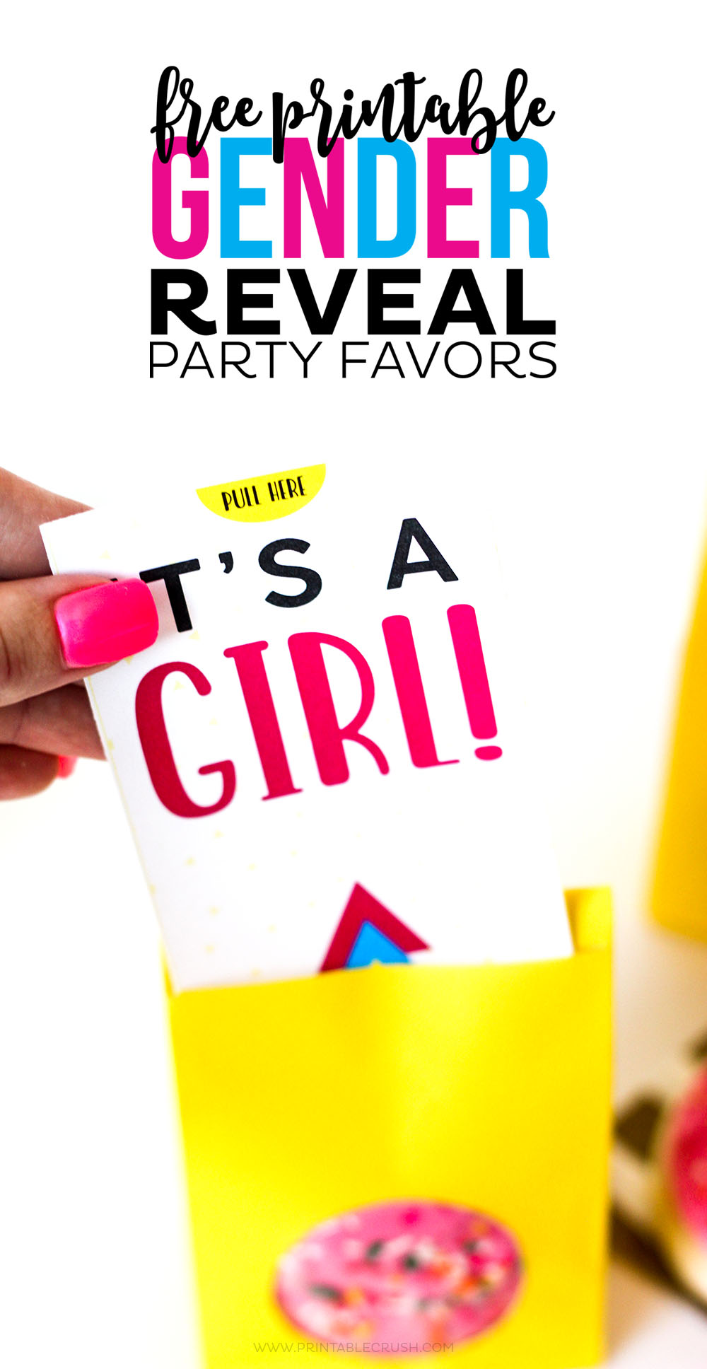 "Gender reveal party supplies - colorful party favor ""it's a girl"" printable"