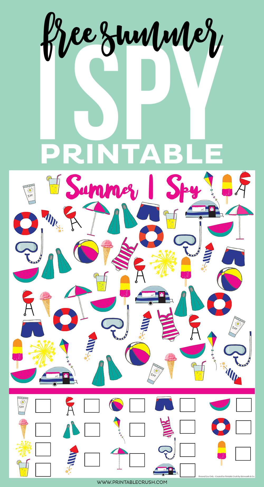 photograph regarding I Spy Printable titled Totally free Summertime I Spy Printable - Printable Crush