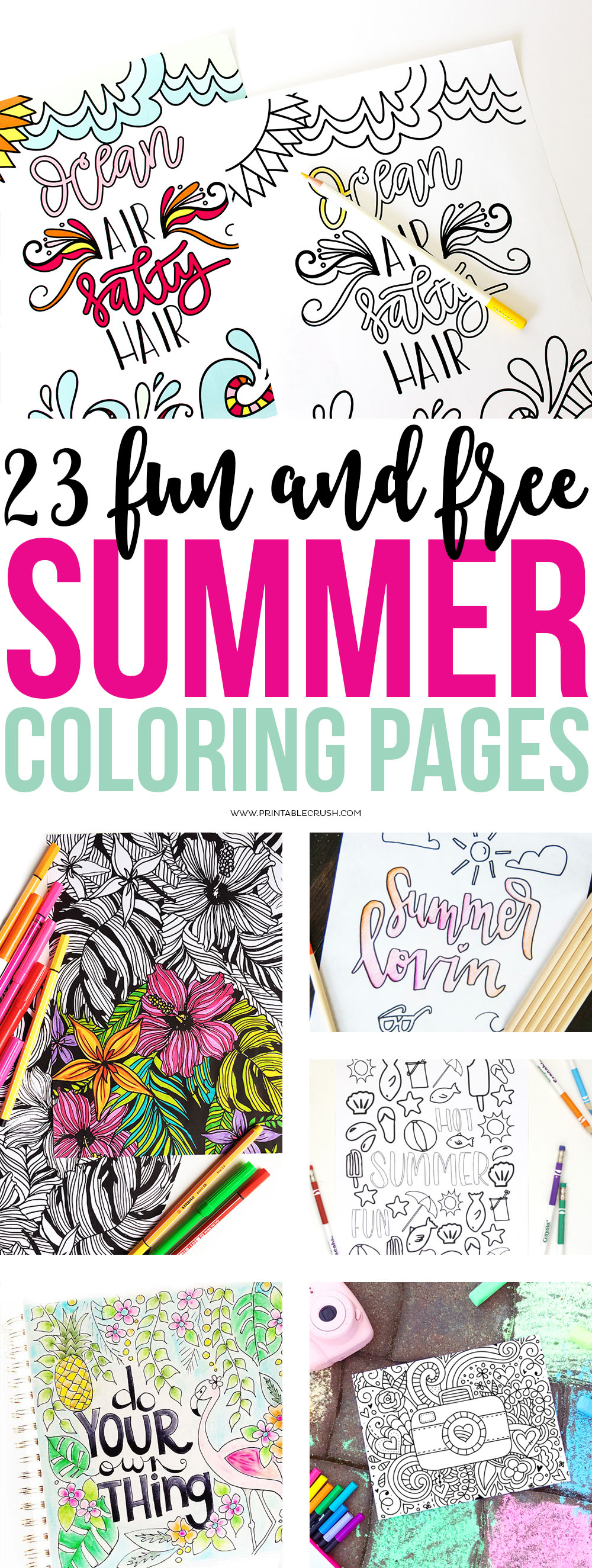 Make your summer more colorful with these 23 FREE Summer Coloring Pages for both kids and adults. Whether you have plans to sit by the pool, are taking a summer vacation or simply want to color these will be the perfect summer activity!