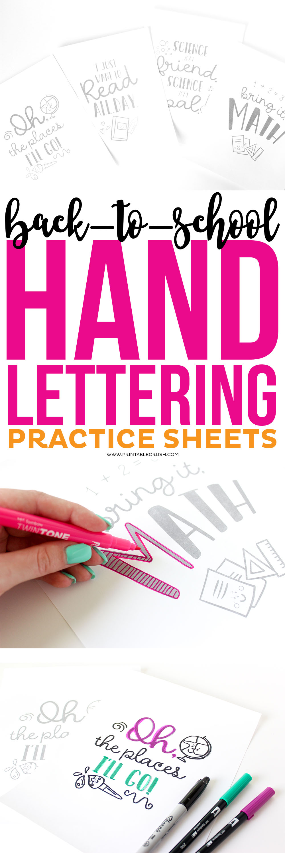 These adorable Back to School Hand Lettering Practice Sheets include 4 designs with hand lettered designs and cute illustrations!