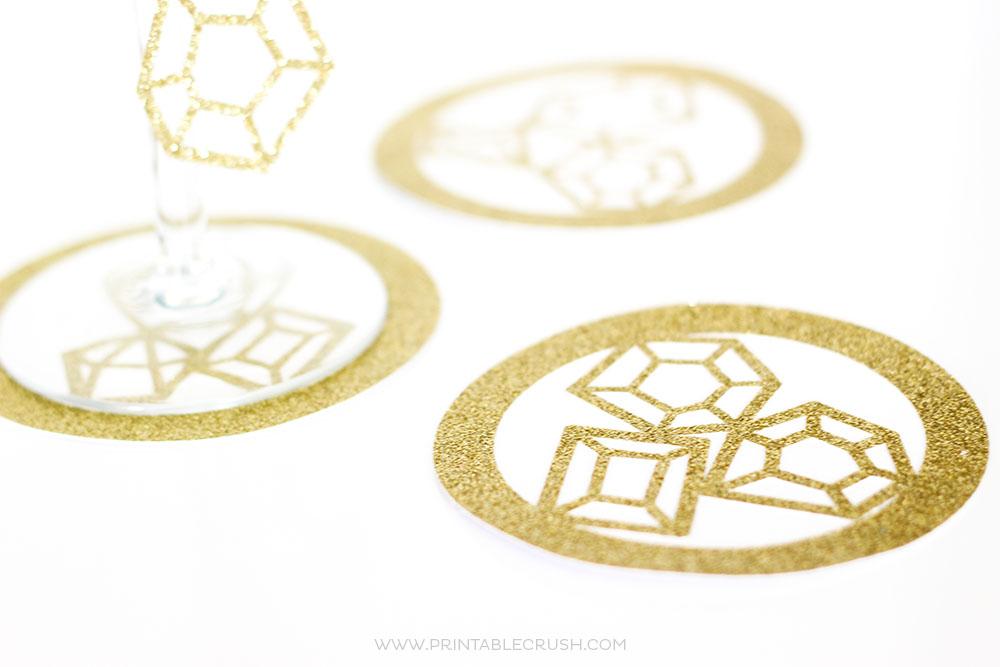 Gold sparkle gemstone coasters white background