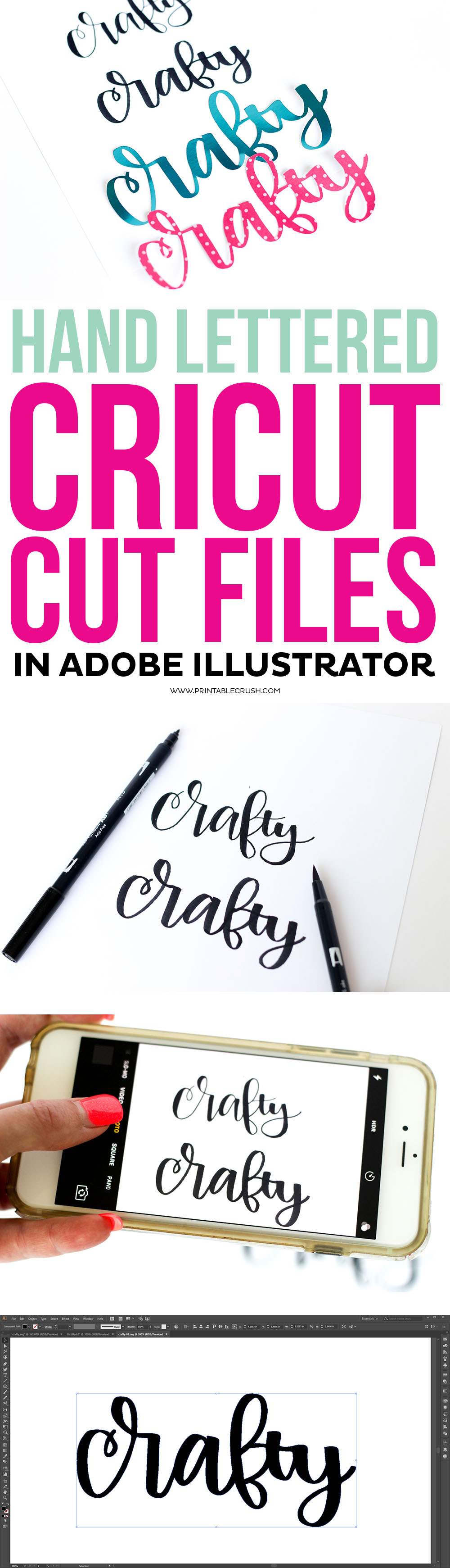Learn how to Create Hand Lettered Cricut Cut Files in Adobe Illustrator! This is a great Cricut project for beginner letterers and designers.