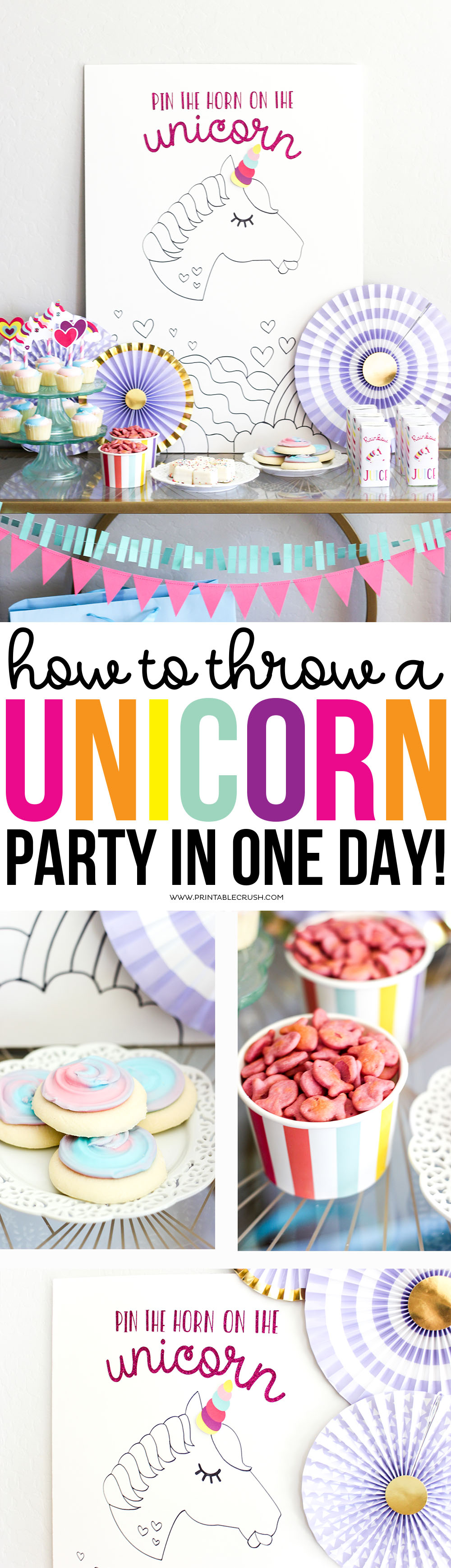 Learn how to Throw a Unicorn Party in One Day with all these budget friendly tips! From party planning and shopping to printables, this has you covered. via @printablecrush