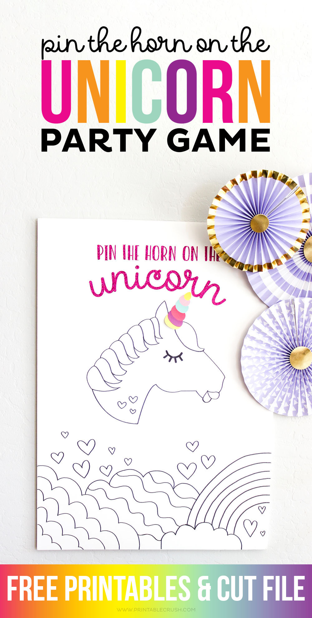 This Pin the Horn on the Unicorn Party Game is adorable and so easy to create with free Cricut Cut Files!