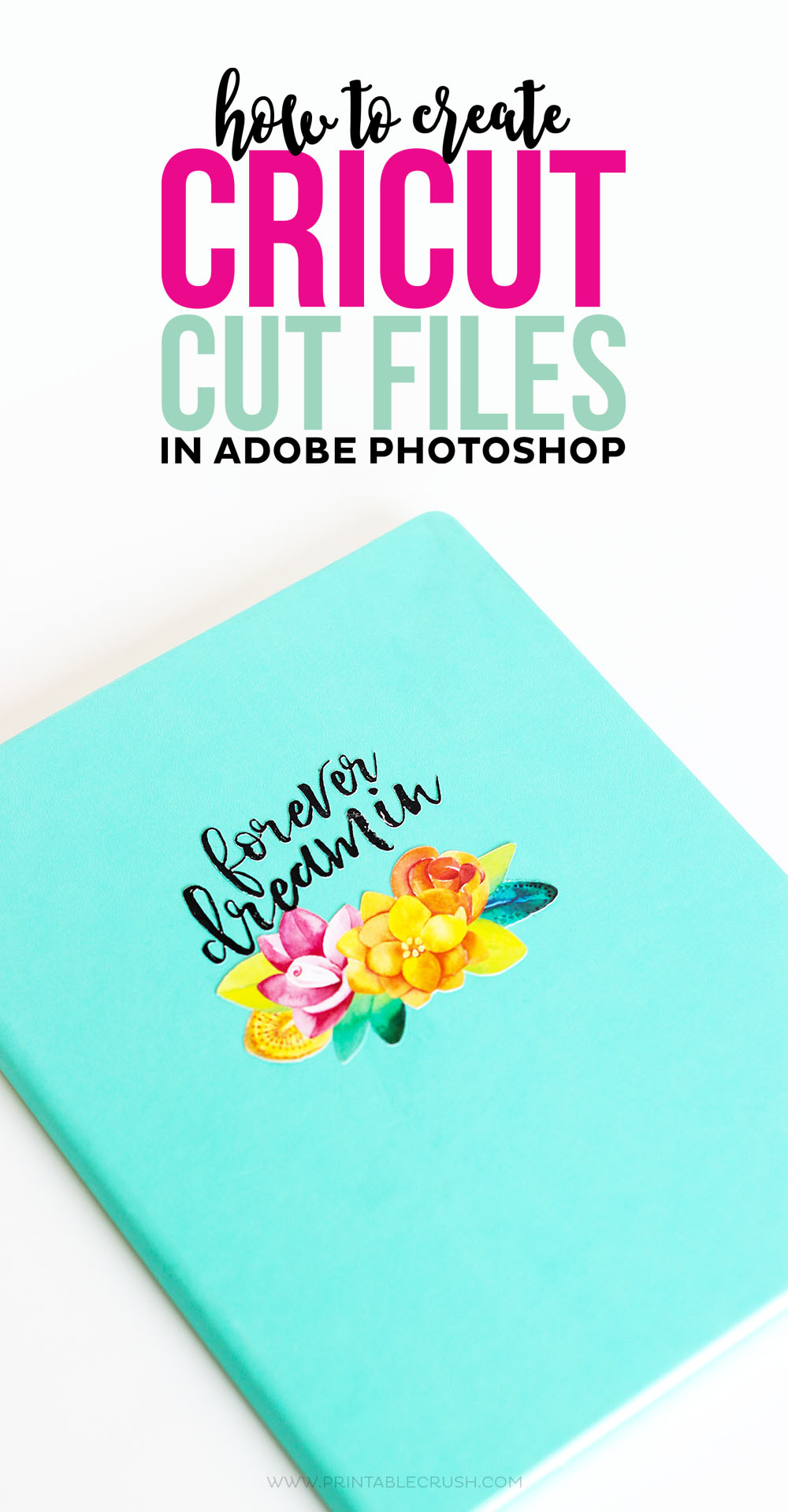 How to use photoshop to make this teal book with flowers and words on it
