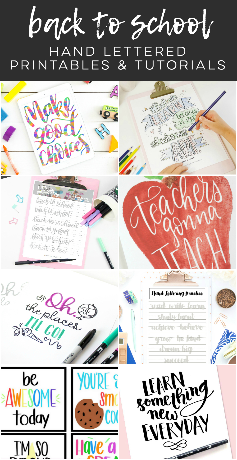Back to School Hand Lettering Practice Sheets