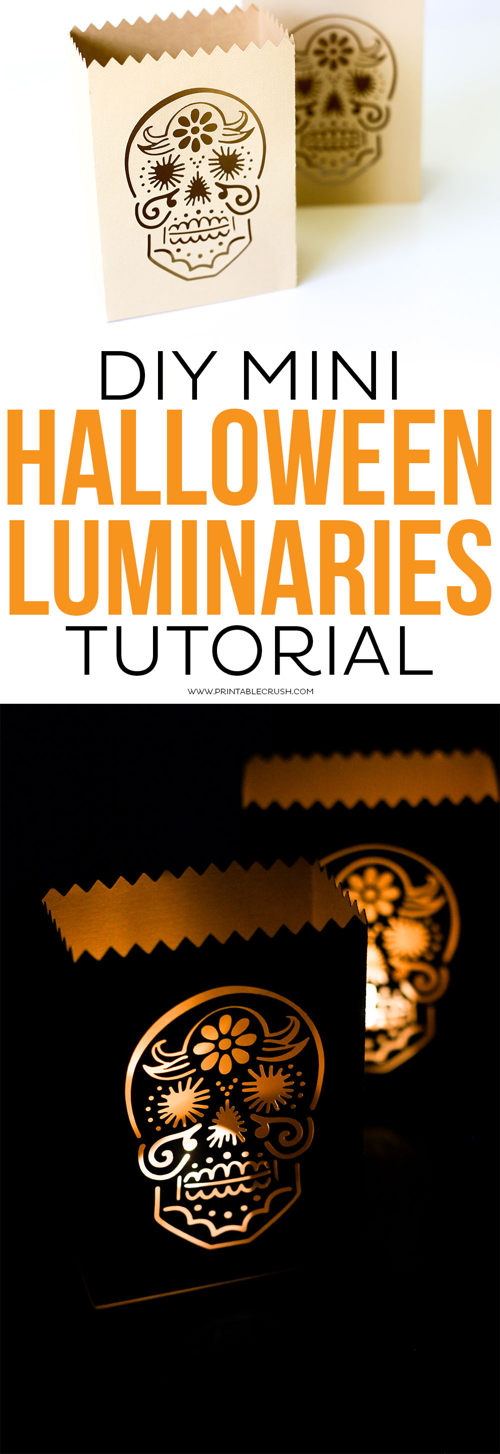 These DIY Mini Halloween Luminaries are perfect for you spooky decor. Customize the luminary file with any Halloween graphic you'd like! #halloweencraft #halloween #luminarias #luminaries #halloweenluminaries #cricutcraft #cricuttutorial via @printablecrush