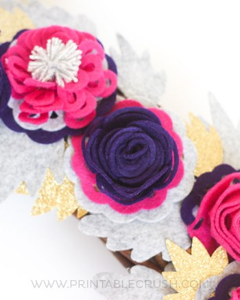 Pink and purple felt roses
