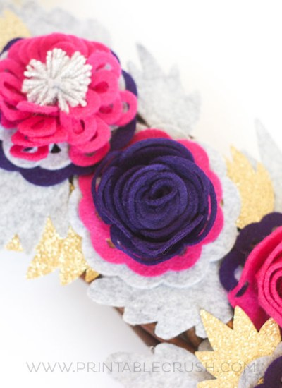 Pink and purple felt roses