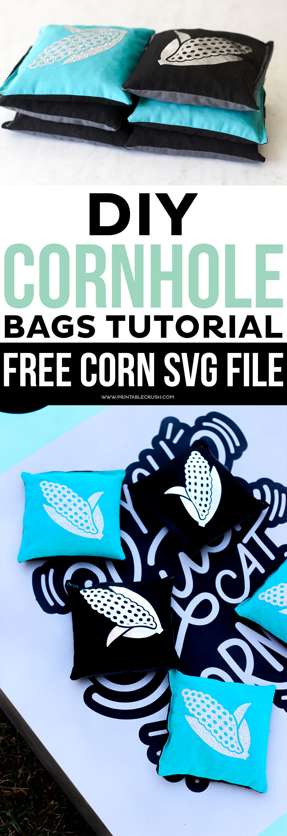 This DIY Cornhole Bags Tutorial will show you how to cut out the pattern with the Cricut Maker, and personalize them with the EasyPress! via @printablecrush