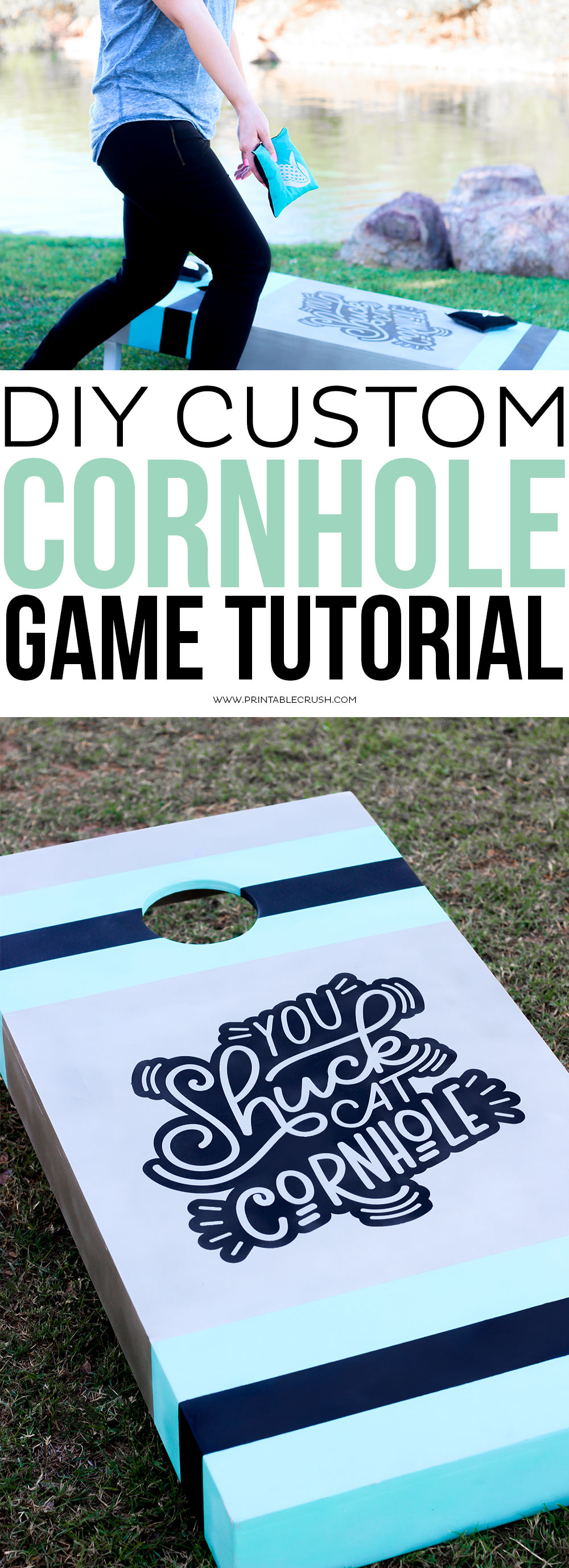 This Cornhole Game is always a favorite at family get-togethers and parties. Use this DIY Cornhole Game Tutorial to create your own custom design! via @printablecrush