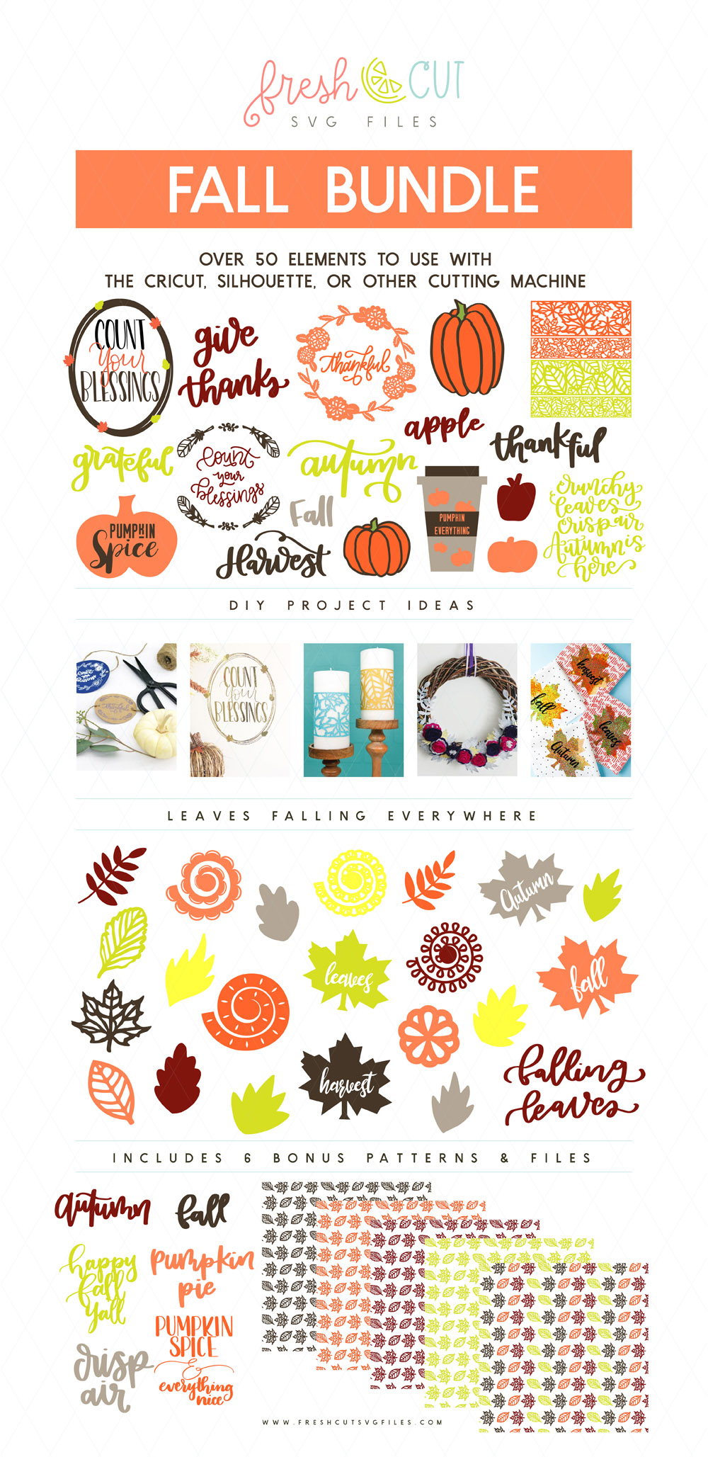 Over 50 Fall SVG File elements to use with the cricut, silhouette, or other cutting machine!