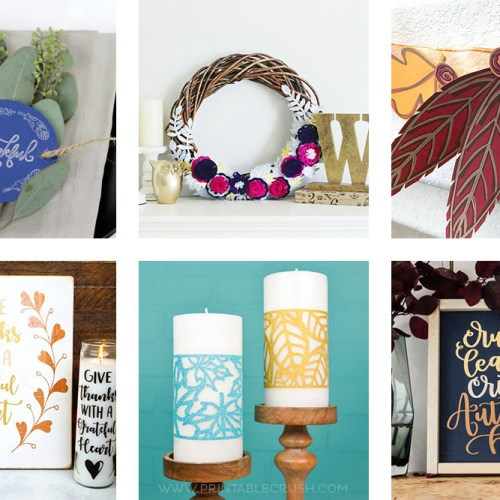 I love all these Creative Fall SVG File Project Ideas to celebrate FALL! We've created wreaths, mantel decor, candle wraps and more!