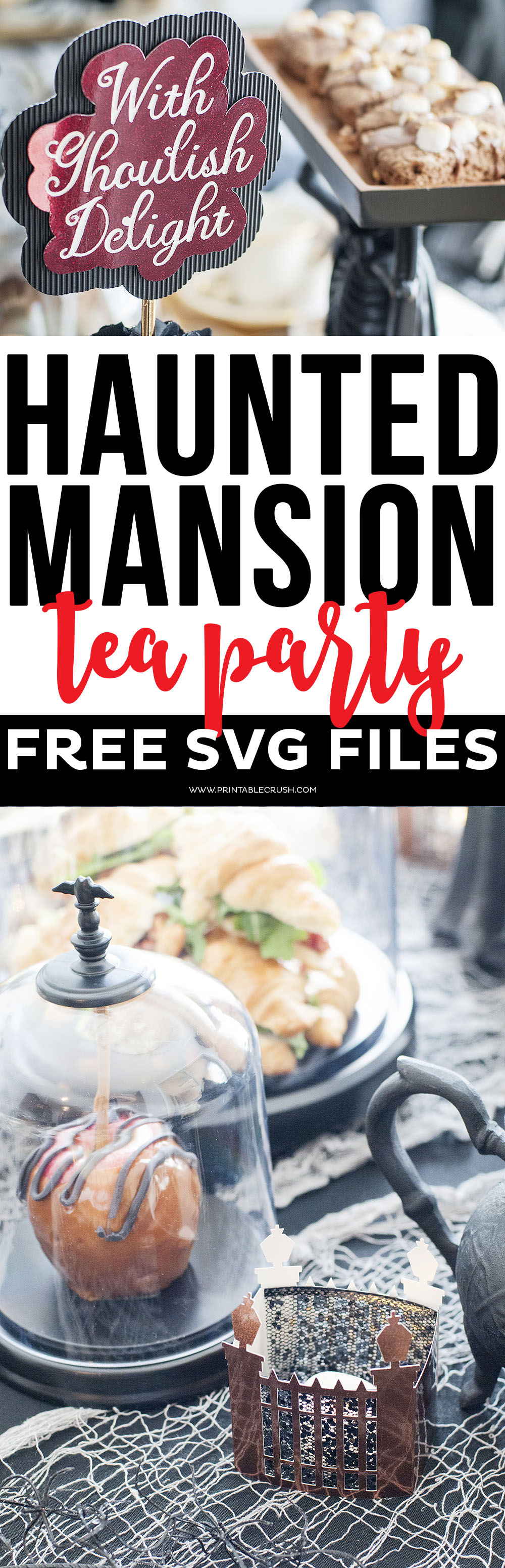 Download these FREE Haunted Mansion Tea Party SVG Files to use for your next party idea, or for your Halloween Decor! Includes 4 spooky Halloween designs!