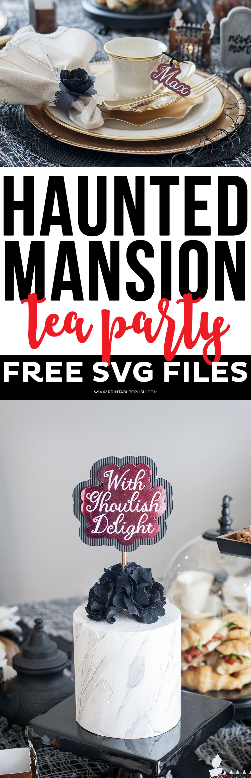 Download theseFREE Haunted Mansion Tea Party SVG Files to use for your next party idea, or for your Halloween Decor! Includes 4 spooky Halloween designs!