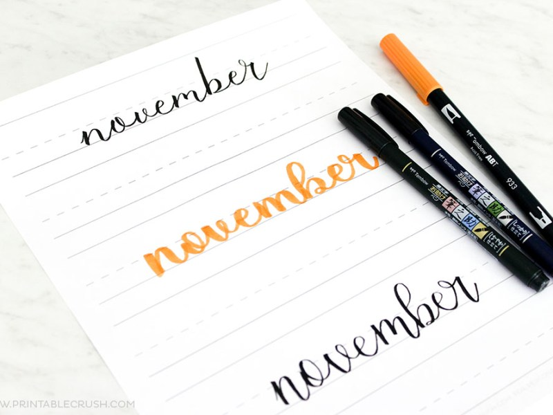 Get 30 November Hand Lettering Prompts plus a FREE practice sheet in this blog series to improve your hand lettering skills!