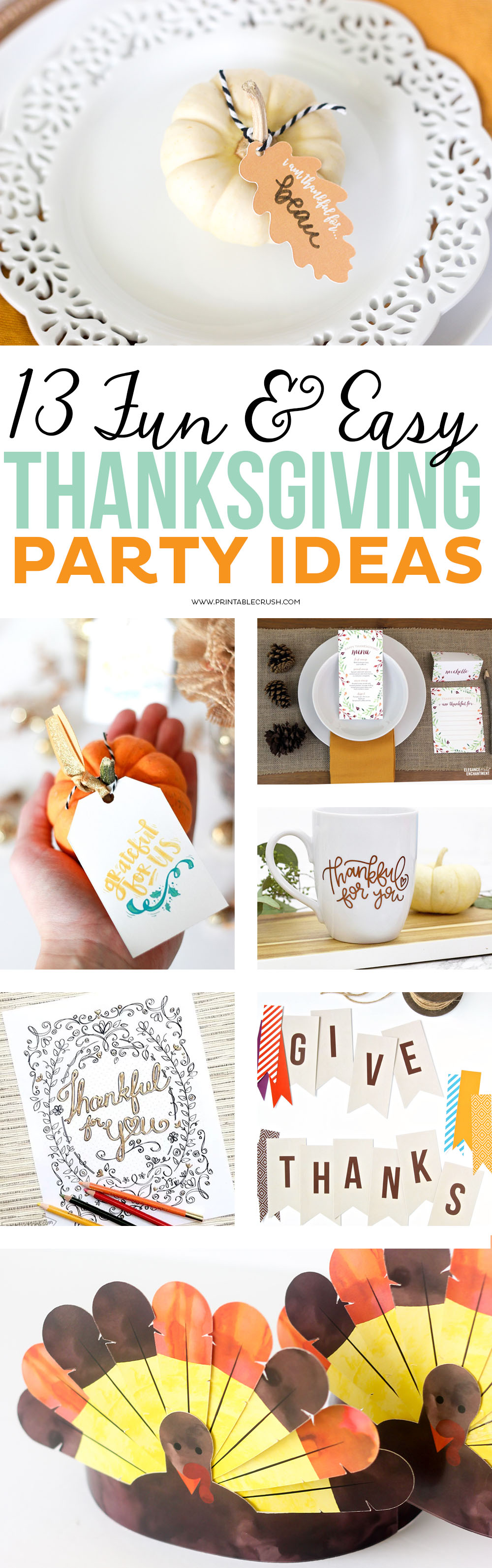 13 Fun and Easy Thanksgiving Party Ideas - Printable Crush