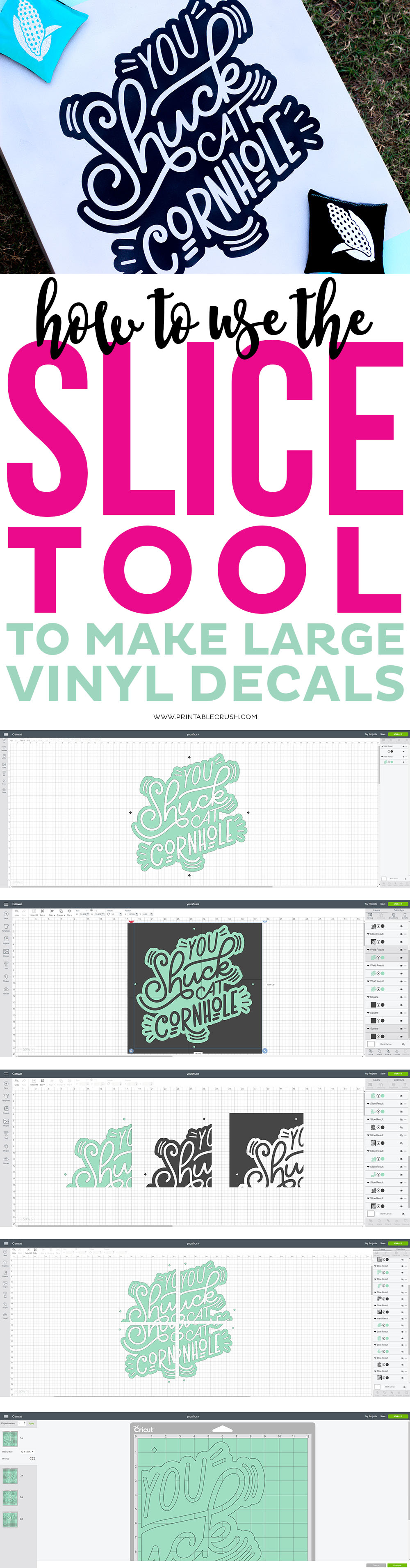 making large vinyl decals step-by-step long collage