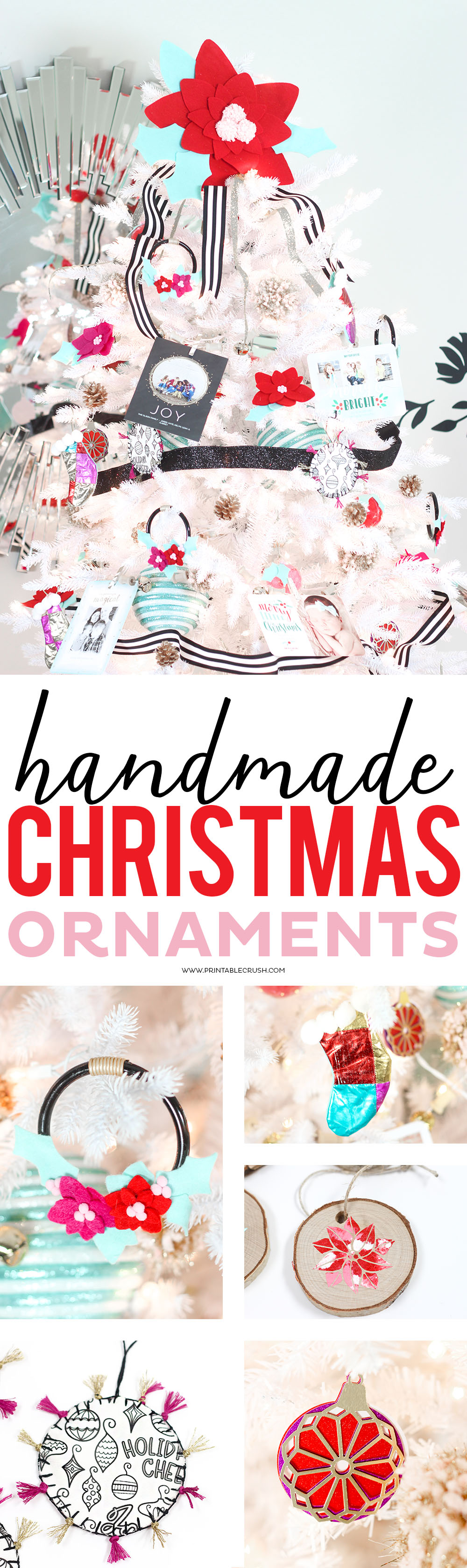 These Handmade Christmas Ornaments are perfect for anyone who is looking to get crafty and make their own ornaments this year! via @printablecrush