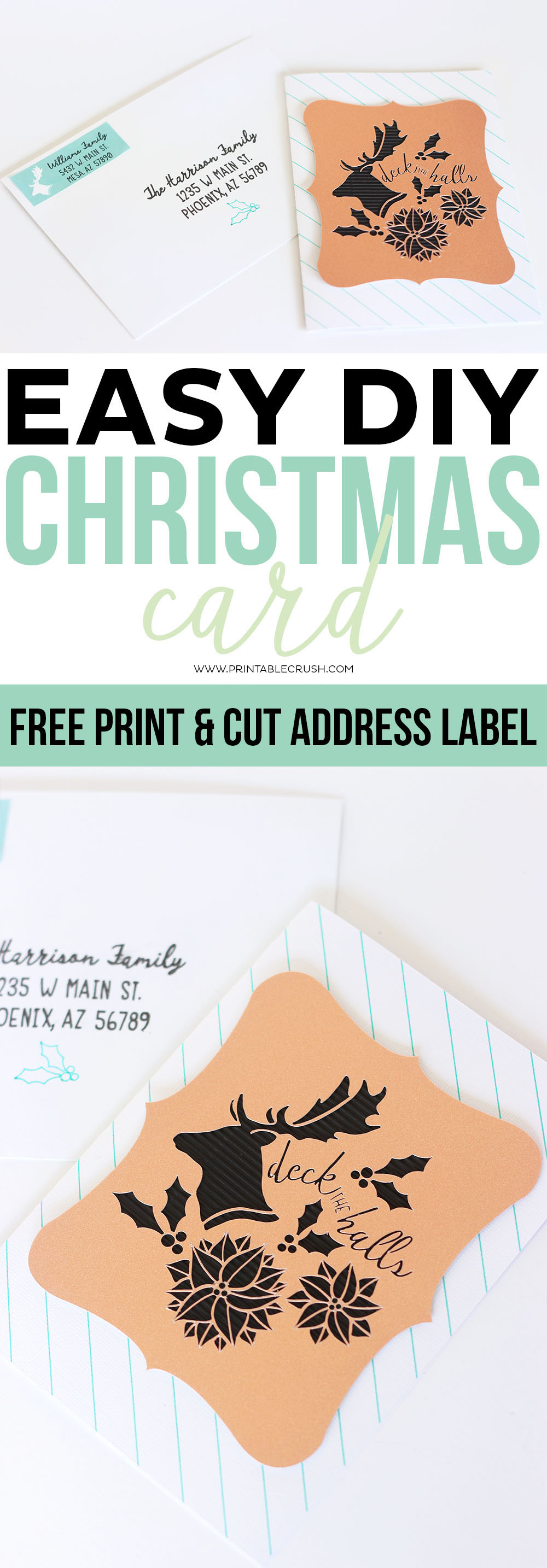 This Easy DIY Christmas Card tutorial also comes with a FREE Printable Address Label! You can customize the paper, colors, textures, and more. via @printablecrush