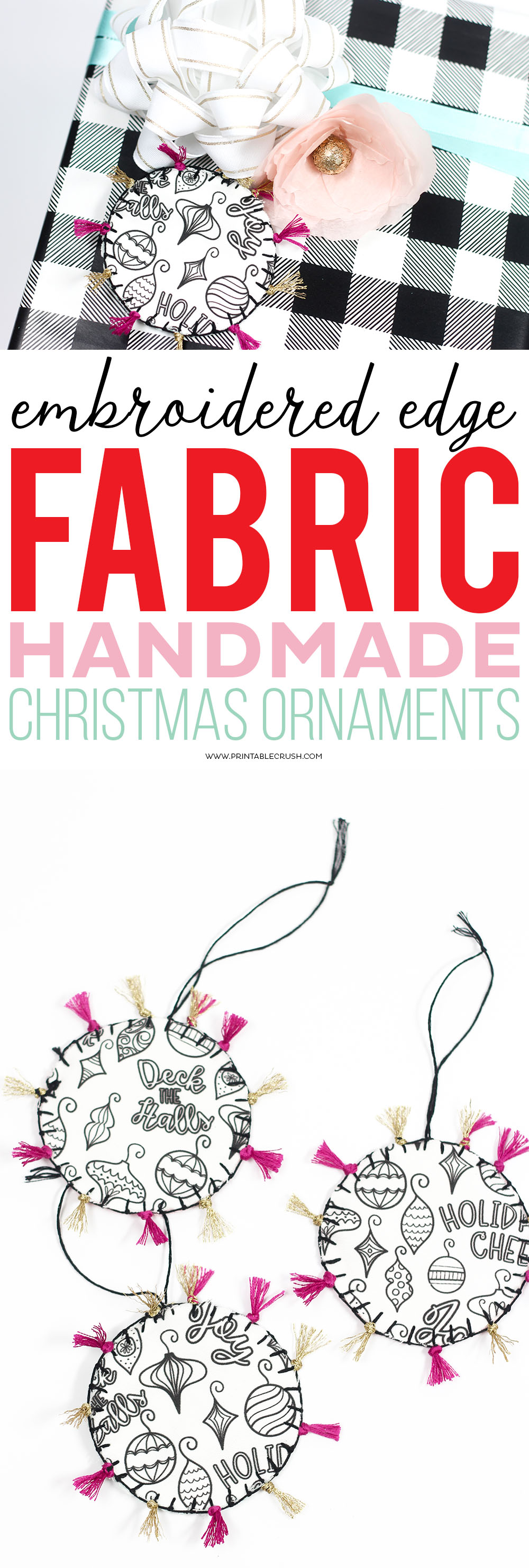These FabricHandmade Christmas Ornaments and gift tags areadorable! Learn how to give them an embroidered edge. They're incredibly easy to make!