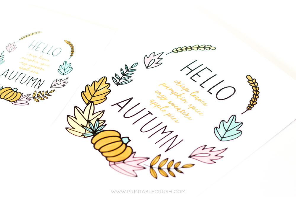 image relating to Autumn Printable titled Absolutely free Hello there Autumn Printable Wall Artwork - Printable Crush