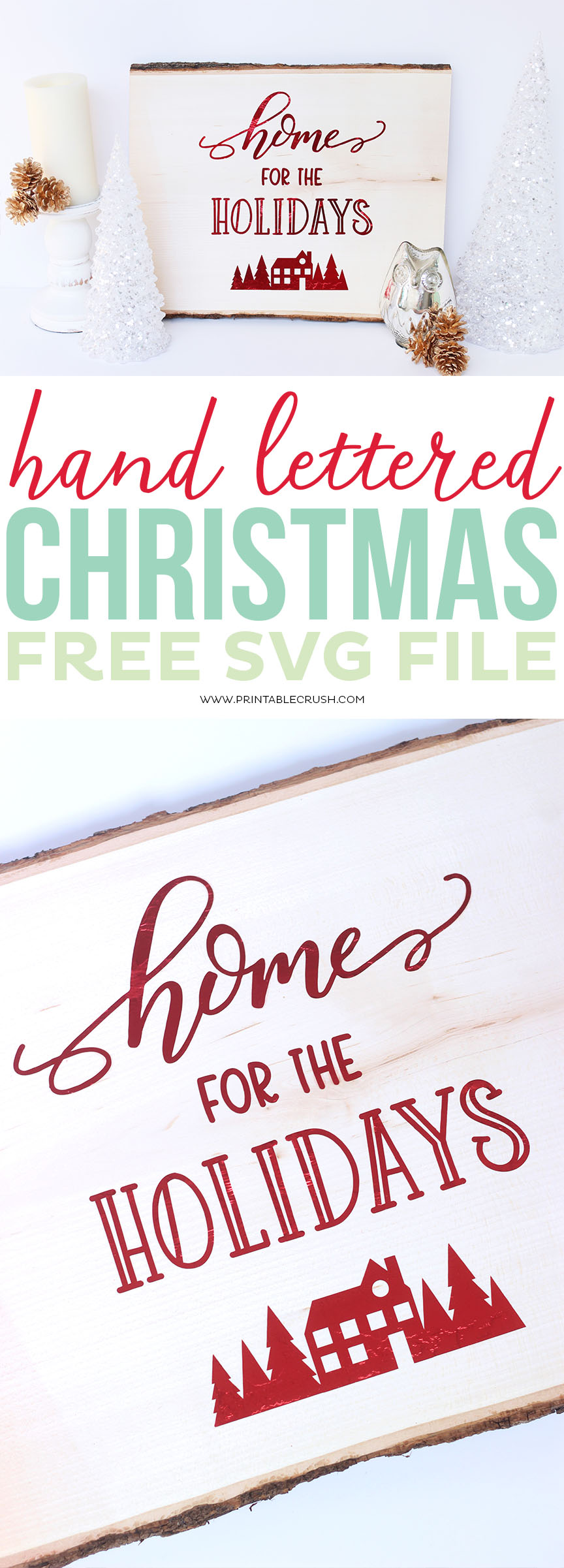 Use this Hand Lettered FREE Christmas SVG File to create home decor, t-shirts, ornaments, and more! This tutorial will also show you how to use the EasyPress on wood! #easypress #cricutmade #cricuteasypress #freesvgfile #freechristmassvgfile #christmassvgfile #homefortheholidays #walnuthollow