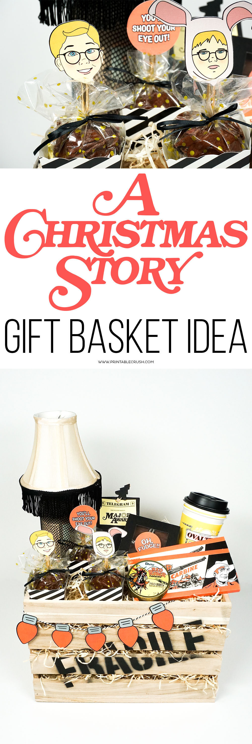 """Have a friend that's a Christmas movie fan? They'll love this A Christmas Story Gift Basket Idea! It's complete with a leg lamp drink, Red Ryder chocolate bars and """"BB's"""", and so much more!"""